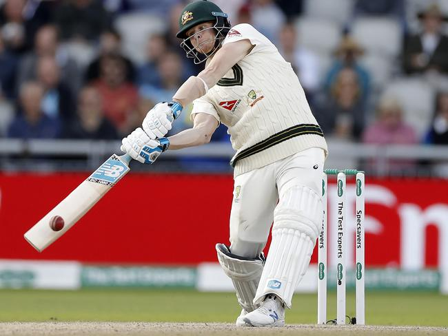Steve Smith in action at the fourth Test at Old Trafford.
