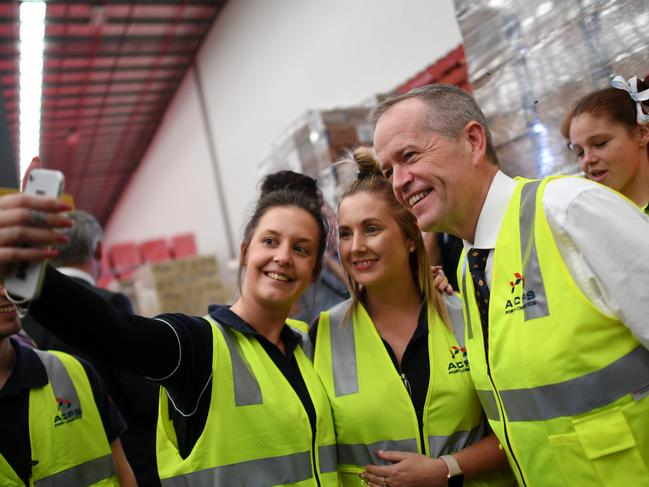 A candid moment for Opposition Leader Bill Shorten on the campaign trail. Picture: AAP