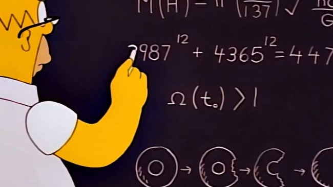 Homer working on his equation.