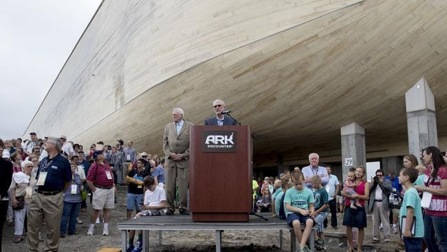 Ken Ham speaks at a ribbon-cutting for Ark Encounter on July 5, 2016. Picture: Aaron P. Bernstein/Getty Images/AFP