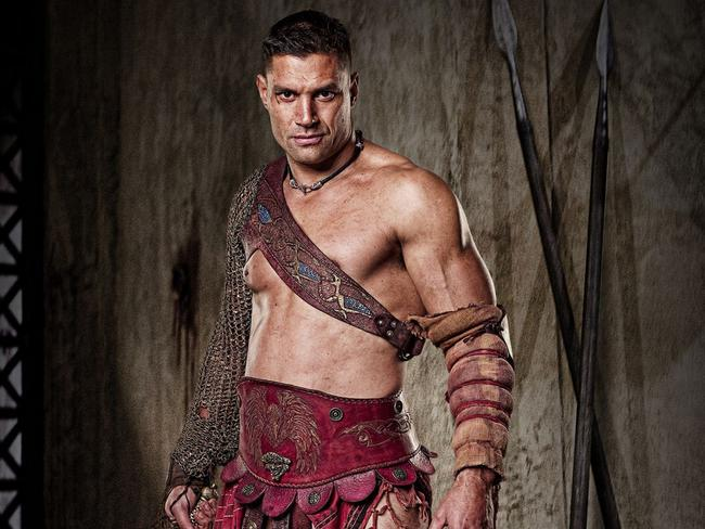 Tough guy ... Manu Bennett played gladiator Crixus in the hit series Spartacus. Picture: Supplied.