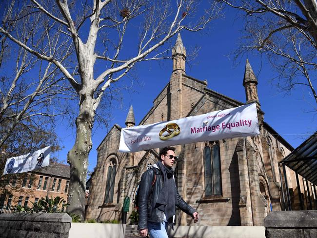 A banner in support of marriage equality outside a church in Sydney. Picture: AFP