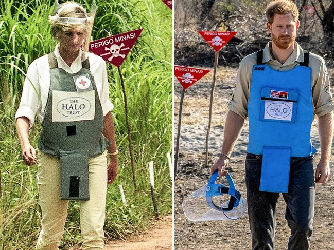 Prince Harry follows in his mother's footsteps in Angola, clearing mines for the HALO Trust. Picture: The HALO Trust