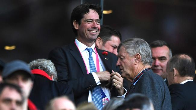 AFL boss Gillon McLachlan was all smiles at the game, unlike many of his fellow lunch guests. Picture: Julian Smith/AAP
