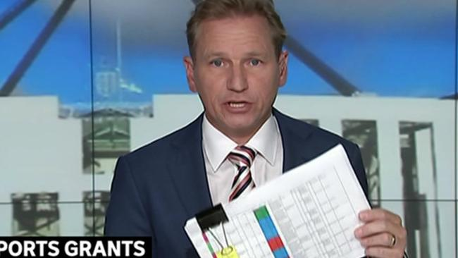 Andrew Probyn holds a copy of a colour-coded spreadsheet obtained by ABC used by Bridget McKenzie's office to determine sports grants.