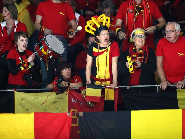 Belgian fans show their support. (Photo by Alex Pantling/Getty Images)