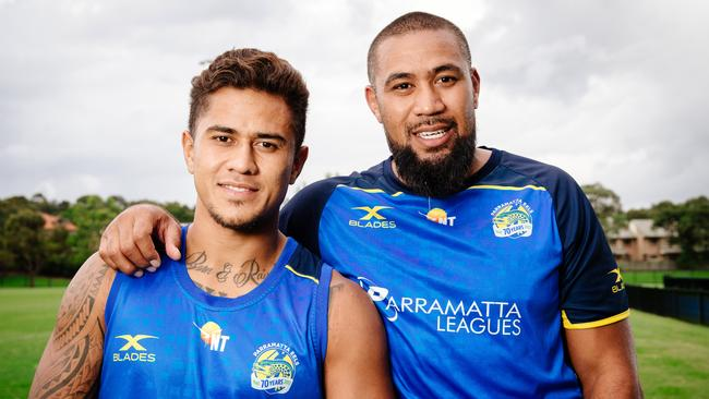 Parramatta Eels players Kaysa Pritchard and brother Frank Pritchard.