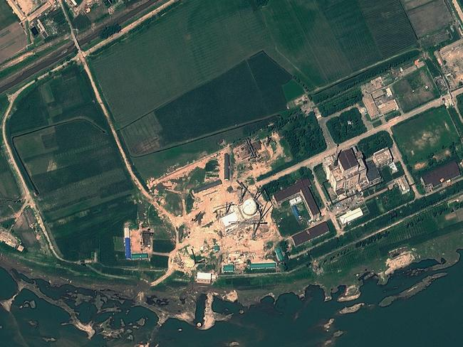 The Yongbyon Nuclear Scientific Research Centre in North Korea is behind the dramatic collapse of Donald Trump and Kim Jong-un's second summit. Picture: Handout / GeoEye Satellite Image / AFP