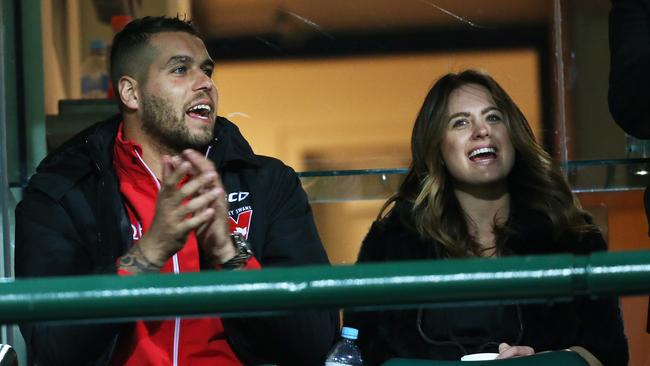 Lance Franklin and girlfriend Jesinta Campbell look on at the SCG. Picture: Phil Hillyard