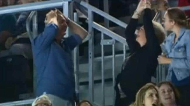 Robyn and Steve in disbelief at the stunning result. Pic: 7 News