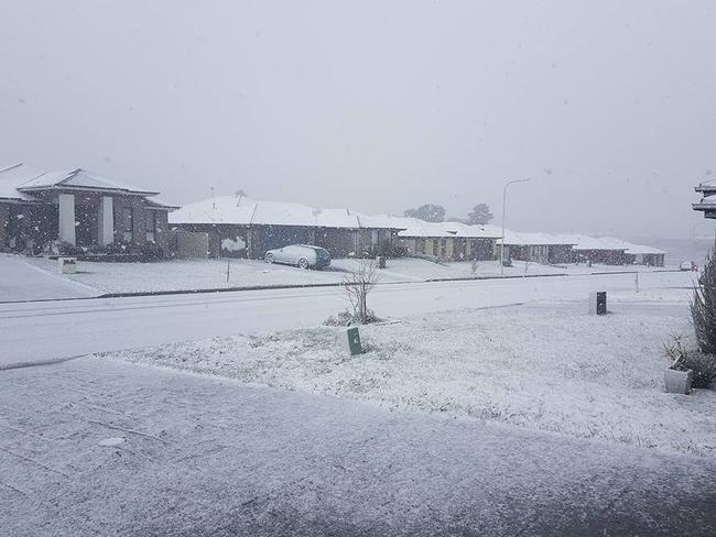 Snow at North Orange midafternoon on Friday. <i> Source: Facebook/HarperLetson</i>