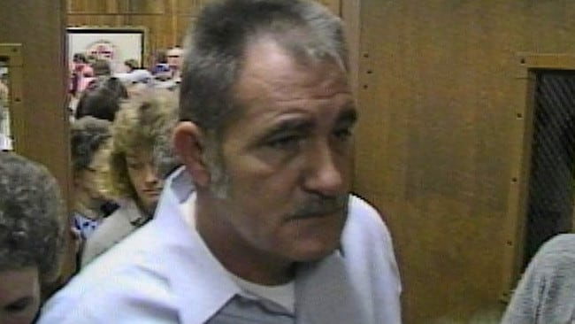 Jack Romines, above at the 1987 conviction of Stephen West for the murder of his wife and daughter Wanda and Sheila, died in 2004. Picture: WBIR-TV.