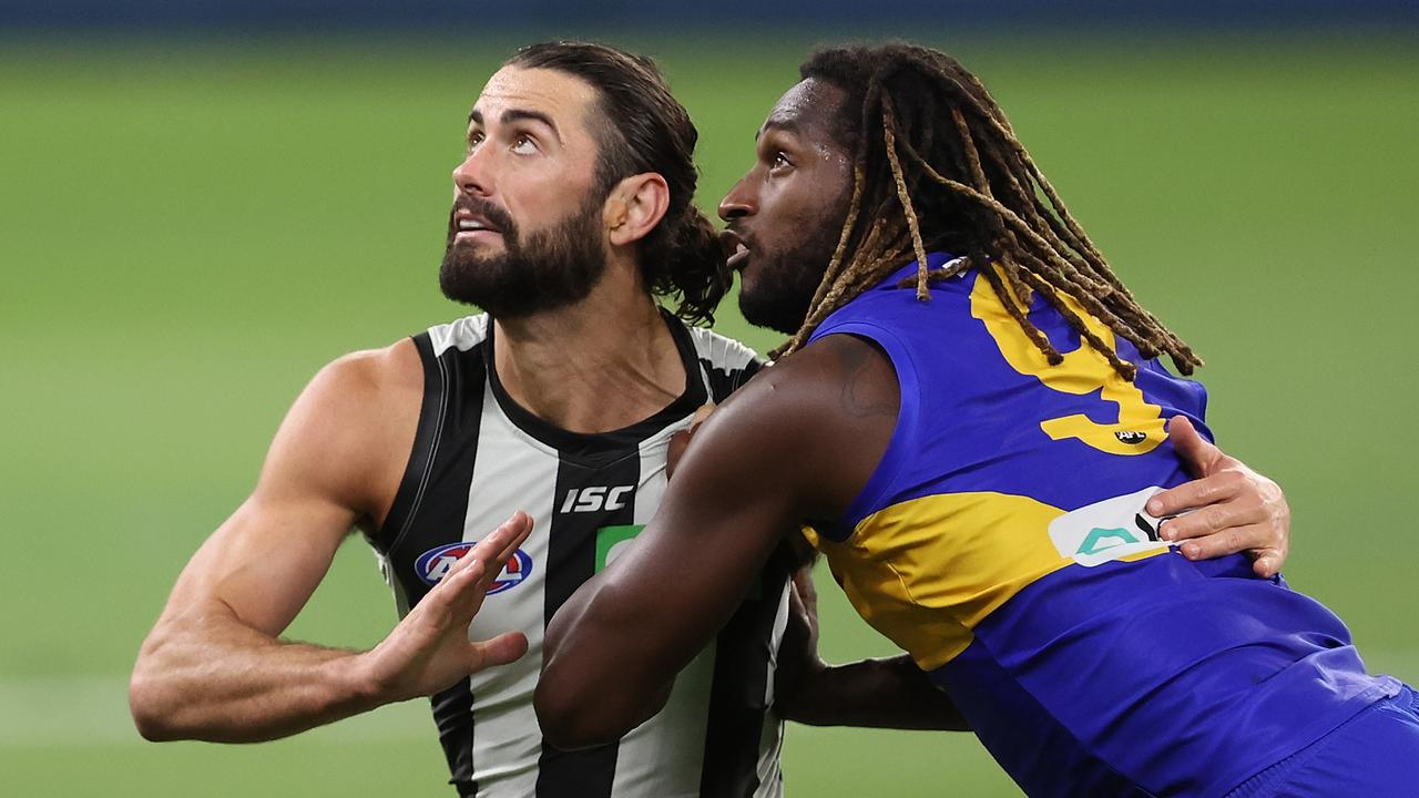 Brodie Grundy lost his battle with Nic Naitanui. (Photo by Paul Kane/Getty Images)
