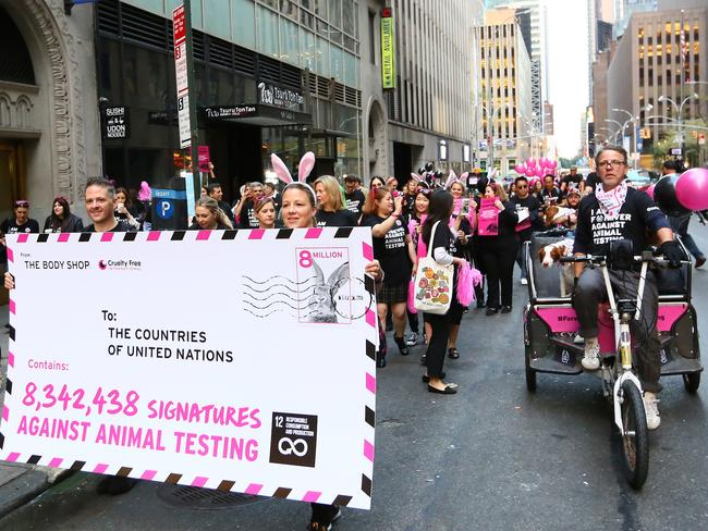 The Body Shop and Cruelty International Pedicab Parade in New York. Picture: Stuart Ramson for Body Shop