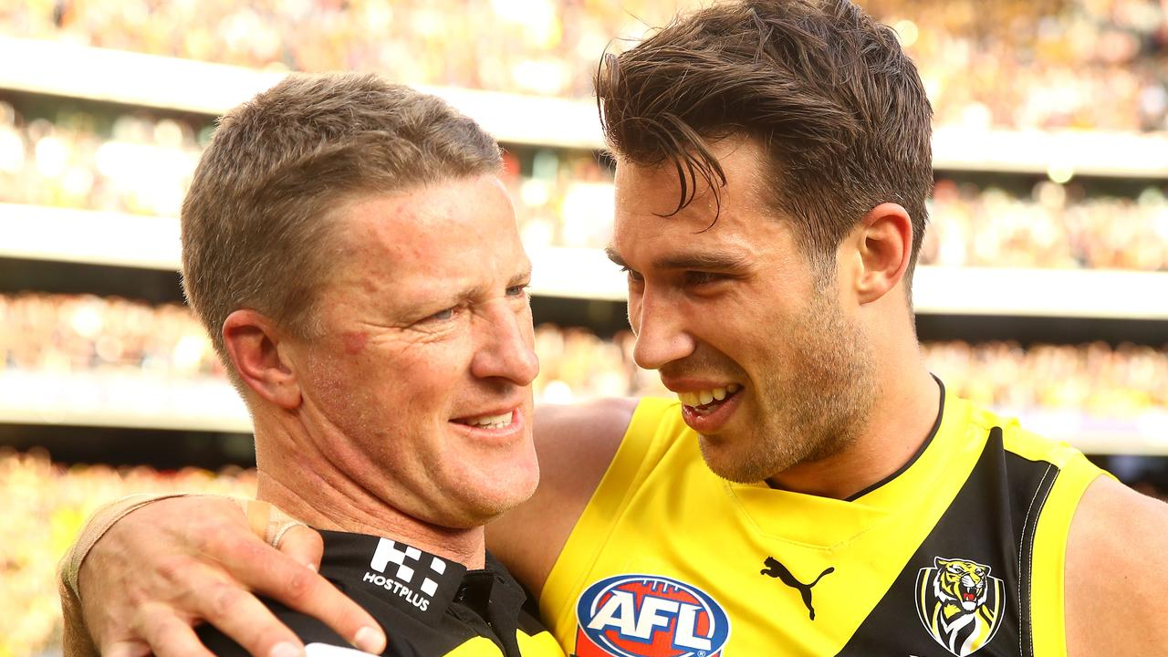 Alex Rance and Damien Hardwick. Photo: Mark Kolbe/AFL Media/Getty Images