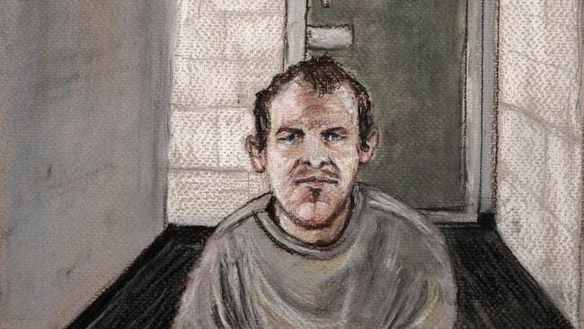 In this courtroom drawing, Brenton Tarrant, the man accused of killing 51 people at two Christchurch mosques on March 15, 2019 appears via video link at the Christchurch District Court. Picture: AP