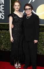 Emma Stone and Billie Jean King attend The 75th Annual Golden Globe Awards at The Beverly Hilton Hotel on January 7, 2018 in Beverly Hills, California. Picture: Frederick M. Brown/Getty Images