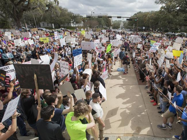 Students gather on the steps of the old Florida Capitol. Picture: AP/Mark Wallheiser