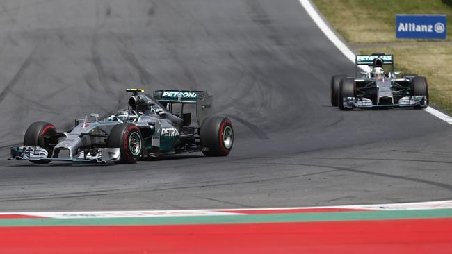 Nico Rosberg is stalked by teammate Louis Hamilton in the closing stages of the Austrian GP.