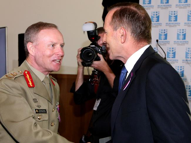 """Keep fighting ... Chief of the Army Lieutenant General David Morrison said that he was asked to say on an extra year by Prime Minister Tony Abbott and """"continue to do what your are doing"""" in fighting systemic sexism. Picture: News Corp"""