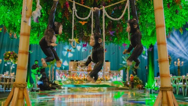 The 'Amazonian-inspired' birthday featured an enchanted jungle theme with swinging monkeys. Picture: Bhavna Barratt / Splash News