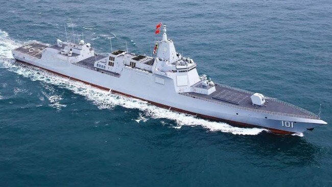 The new Type 055 112 VLS-cell warship Nanchang displays its clean, modern lines. Picture: CCTV
