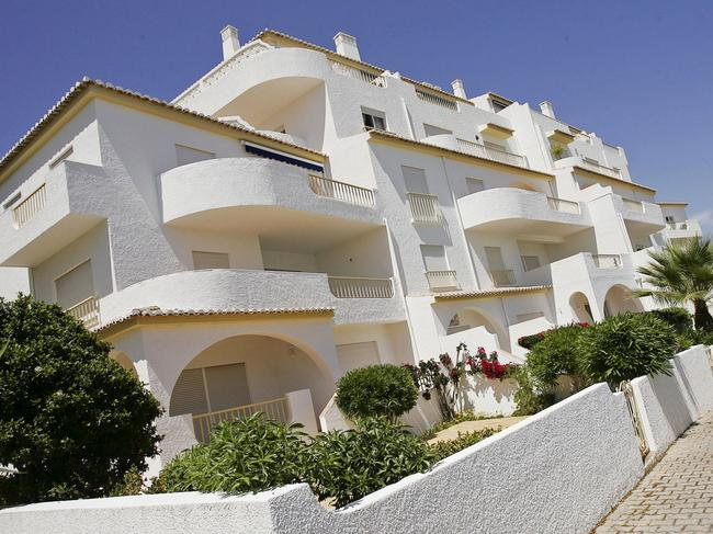 The apartment hotel building where Madeleine McCann disappeared. Picture: AP