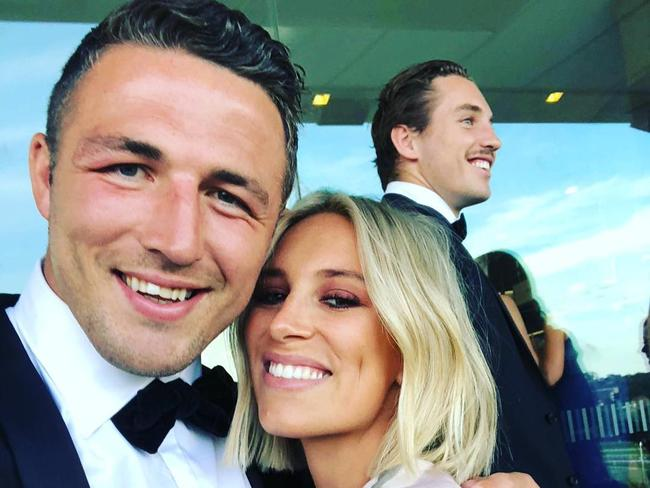 Sam Burgess and his wife Phobe at the wedding of Damien Cook and Courtney Blaine in December.