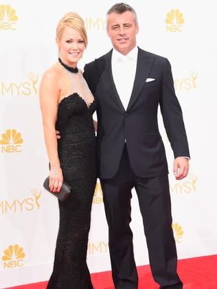 Andrea Anders and Matt LeBlanc attend the 66th Annual Primetime Emmy Awards.