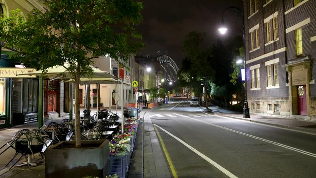 It's only 8pm but the streets are already empty near Sydney's The Rocks. Picture: Jonathan Ng