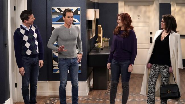 Sean Hayes as Jack McFarland, Eric McCormack as Will Truman, Debra Messing as Grace Adler and Megan Mullally as Karen Walker in Will & Grace. Picture: Chris Haston/NBC