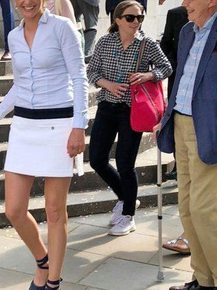 Anna shunned a traditional wedding dress in favour of a miniskirt and fitted blouse for her marriage to Hugh Grant. Source; Backgrid