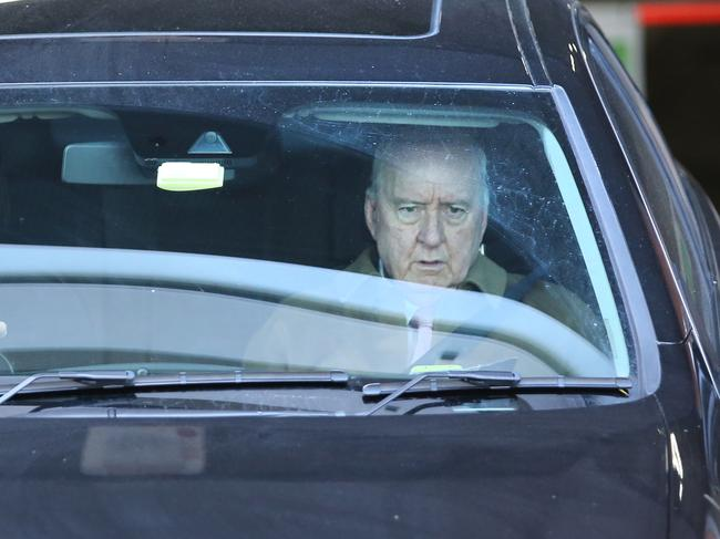 Broadcaster Alan Jones pictured leaving his 2GB offices at Pyrmont in Sydney. Picture: Richard Dobson