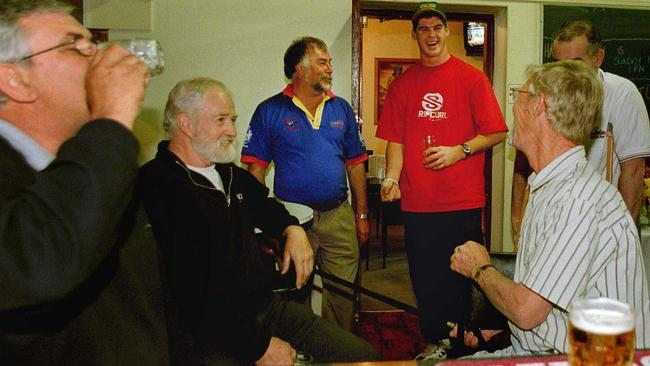 Lions champion Jonathan Brown has a laugh with Warrnambool locals. Picture: Michael Klein