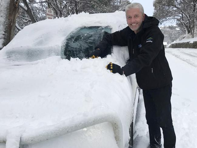 A thick cover of snow on cars at Mt. Buller. Picture: Mt. Buller