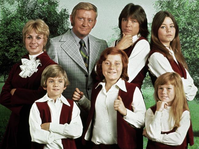 David Cassidy with his <i> Partridge Family </i>co-stars Shirley Jones, Dave Madden, Susan Dey, Brian Forster, Danny Bonaduce and Suzanne Crough. Picture: AP