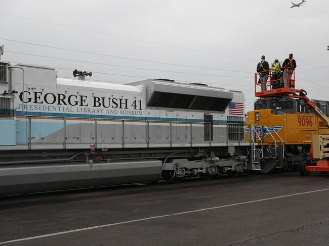 A Union Pacific locomotive, painted to look like Air Force One, will carry former President George H.W. Bush to his resting place in College Station, Texas. Picture: Getty