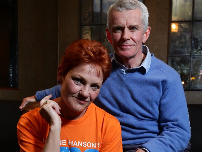Pauline Hanson and Malcolm Roberts pictured at the One Nation post election party. Picture: Liam Kidston.