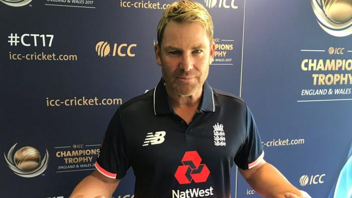 Shane Warne had to wear an England jersey after losing a bet to India's Sourav Ganguly.