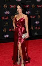 Lauren Bumbers (partner of Cameron Guthrie of Geelong) on the Brownlow red carpet.