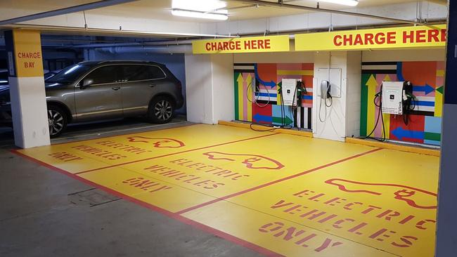 Electric car charging bays at one of Mirvac's shopping centres. Source: Mirvac.