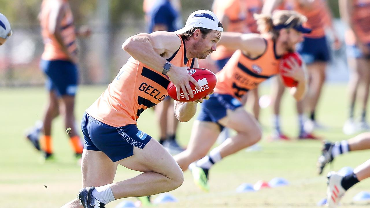 Patrick Dangerfield on the burst during a training session this summer.