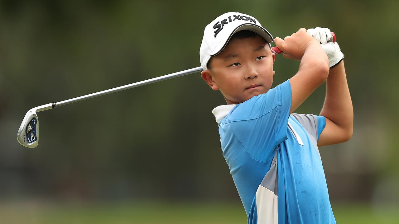 Jonathan Hong, 9, has just reached a scratch handicap after some dream rounds. Experts believe he is the youngest in Australia to reach this milestone. Picture: Brett Costello