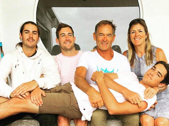 Lawson Rankin with his family, who have rushed to Bali to be by his side.