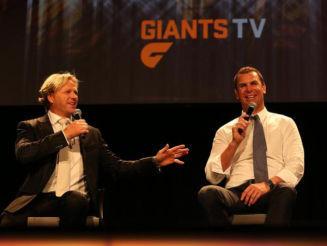Wayne Carey (left) at a grand final lunch in 2013. Picture: Phil Hillyard