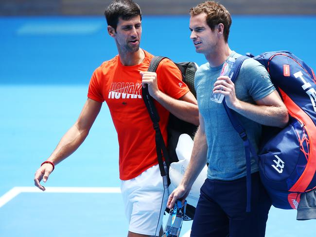 Novak Djokovic and Andy Murray practised together ahead of the Australian Open.