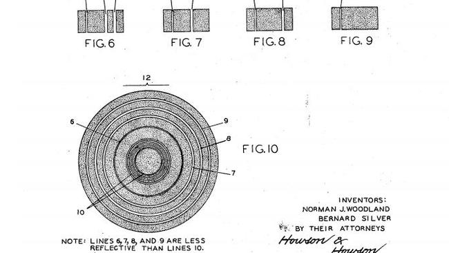 The original patent documentation for the barcode, lodged by Norman Woodland and Bernard Silver. Picture: USPTO.