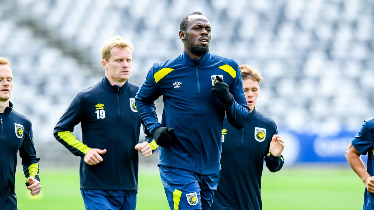 Eight-time Olympic sprinting gold medallist Usain Bolt during training.