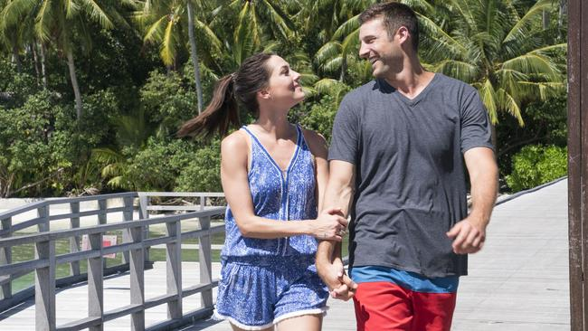 Becca Kufrin and Garrett Yrigoyen on The Bachelorette. Since the finale aired it had been discovered Yrigoyen 'liked' posts mocking transgender people and immigrants.