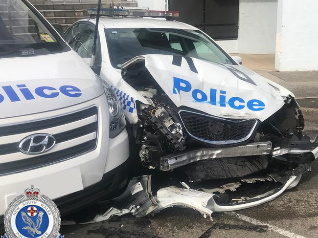 One of the cars was significantly damaged. Picture: NSW Police Media